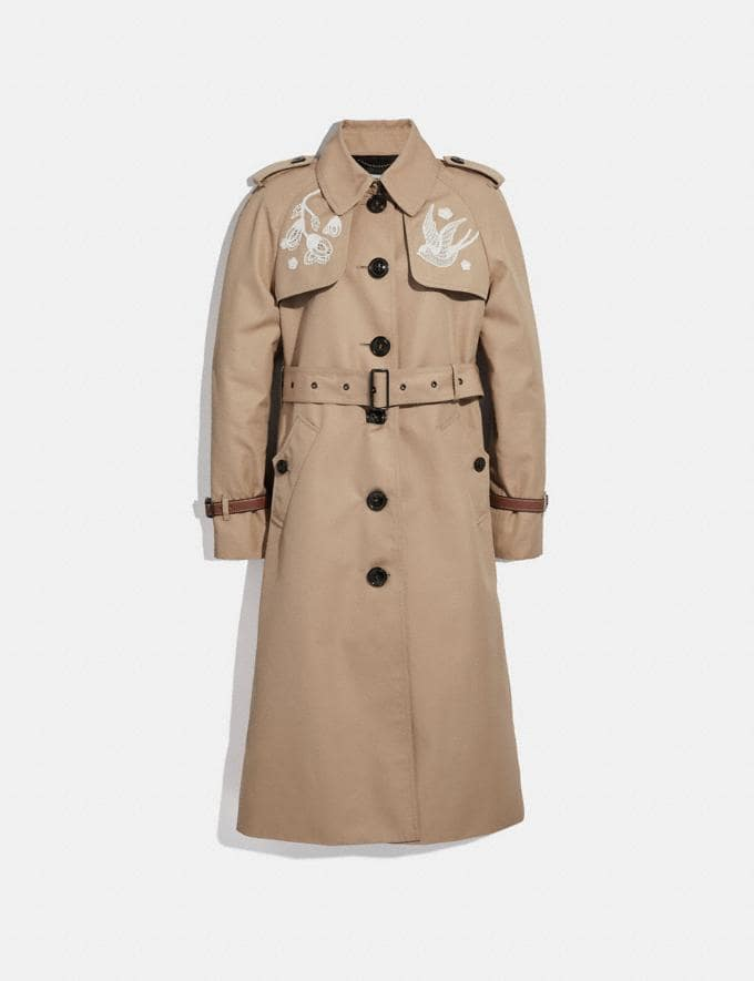 Coach Lace Embroidered Trench Coat Khaki