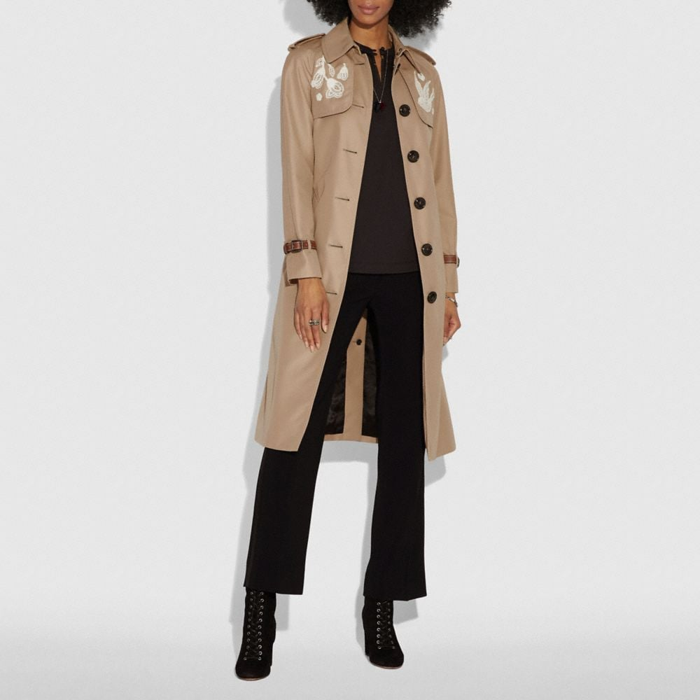 Coach Lace Embroidered Leather Trench Coat Alternate View 1