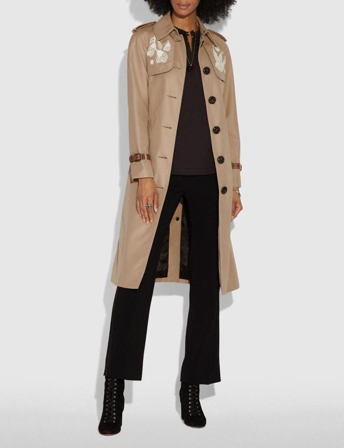 Coach Lace Embroidered Trench Coat Khaki  Alternate View 1