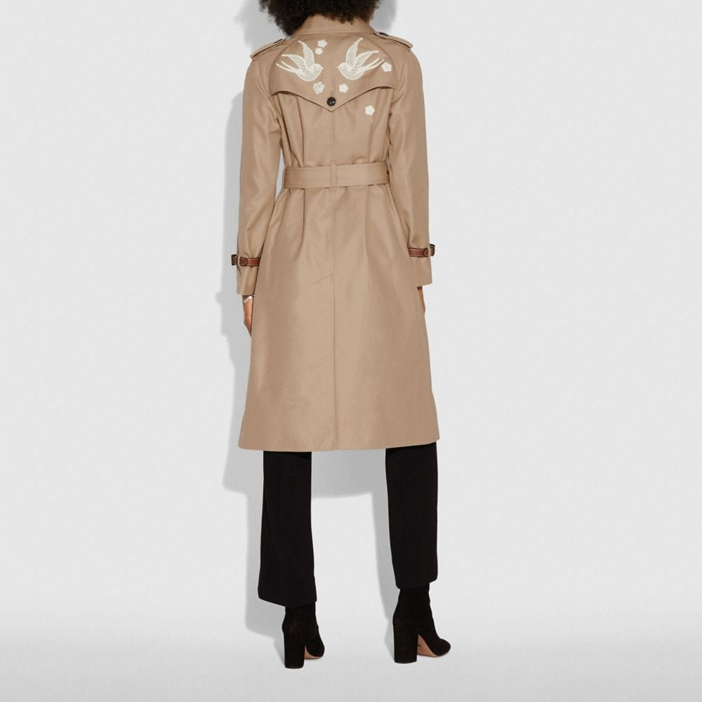 Coach Lace Embroidered Leather Trench Coat Alternate View 3