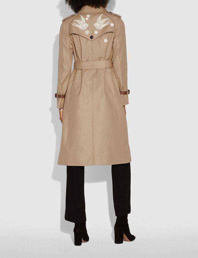 Coach Lace Embroidered Trench Coat Khaki  Alternate View 3