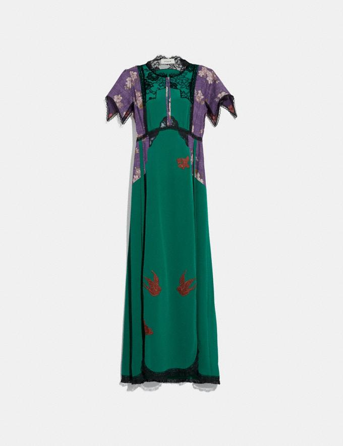 Coach Lace Embroidered Dress Emerald Green
