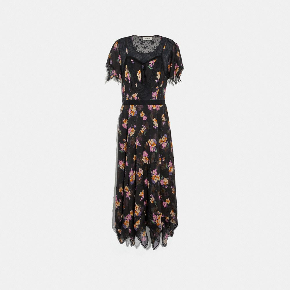 Coach Embellished Forest Floral Print Dress