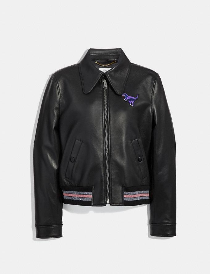 Coach Leather Varsity Jacket Black Women Ready-to-Wear Coats & Jackets