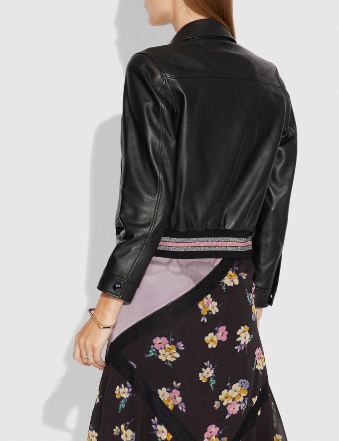Coach Leather Varsity Jacket Black Women Ready-to-Wear Coats & Jackets Alternate View 2