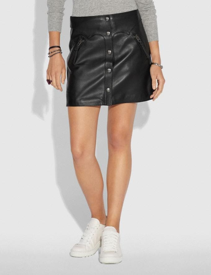 Coach Leather Skirt Black Women Ready-to-Wear Bottoms Alternate View 1