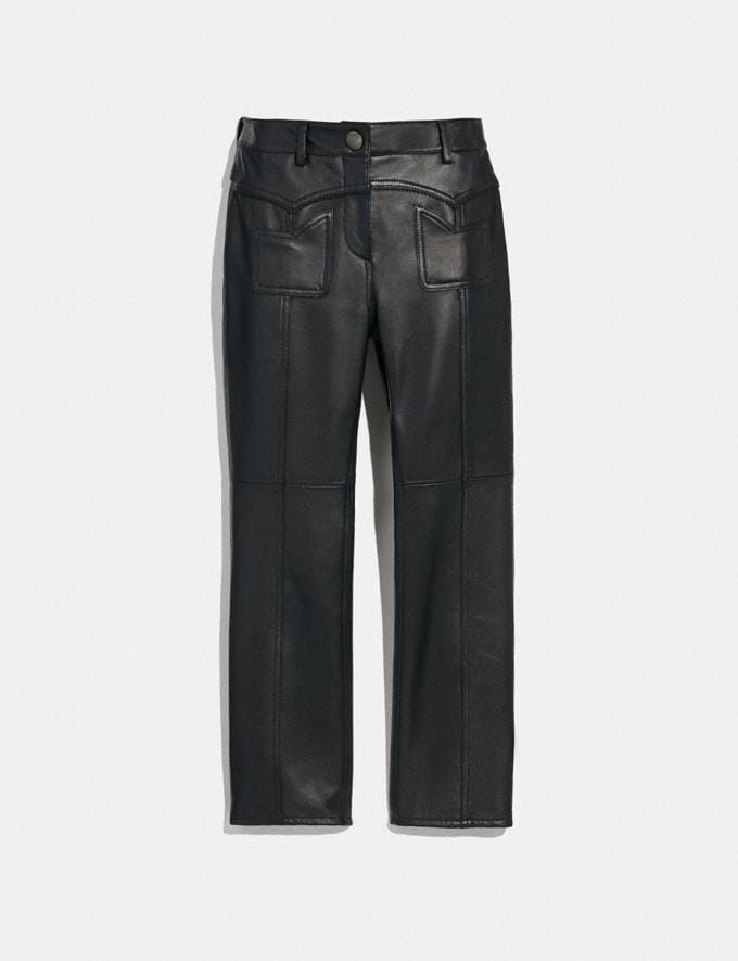 Coach Leather Pants Black Women Ready-to-Wear Bottoms