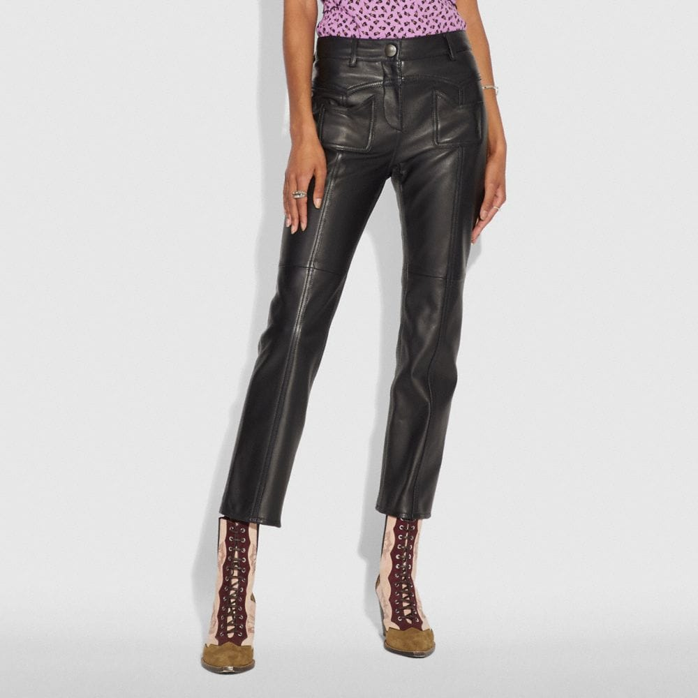 Coach Leather Pants Alternate View 1