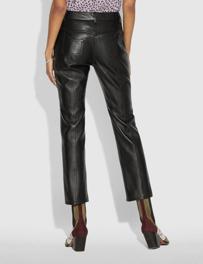 Coach Leather Pants Black Women Ready-to-Wear Bottoms Alternate View 2