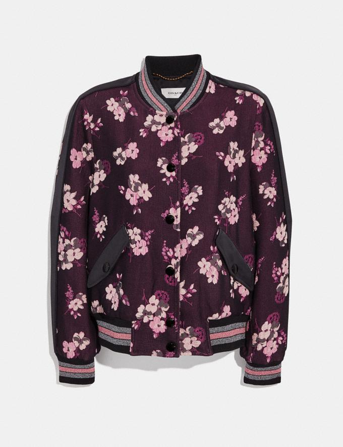 Coach Forest Floral Jacquard Varsity Jacket Black Multi Women Ready-to-Wear Coats & Jackets