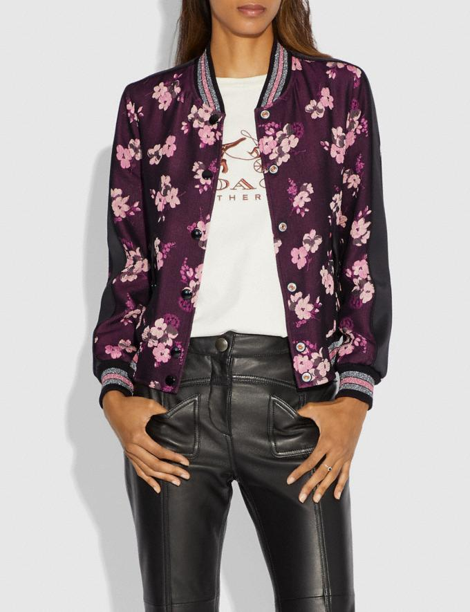 Coach Forest Floral Jacquard Varsity Jacket Black Multi Women Ready-to-Wear Coats & Jackets Alternate View 1