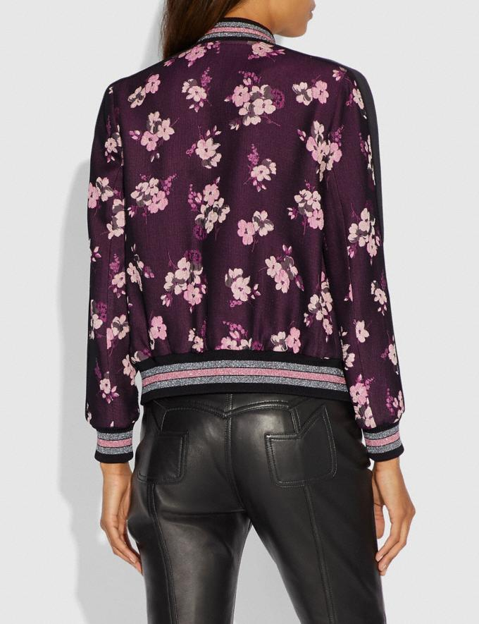 Coach Forest Floral Jacquard Varsity Jacket Black Multi Women Ready-to-Wear Coats & Jackets Alternate View 2