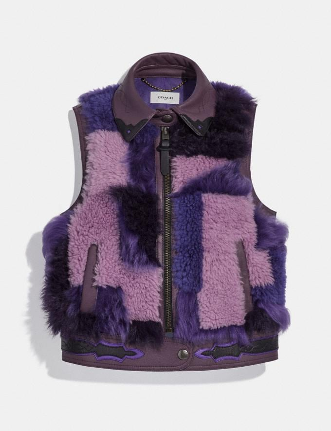 Coach Patchwork Shearling Vest Purple