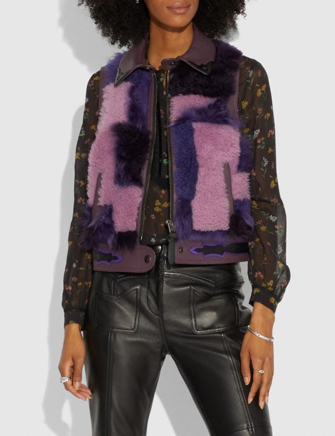 Coach Patchwork Shearling Vest Purple  Alternate View 1