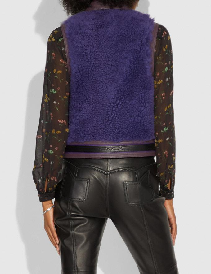 Coach Patchwork Shearling Vest Purple  Alternate View 2