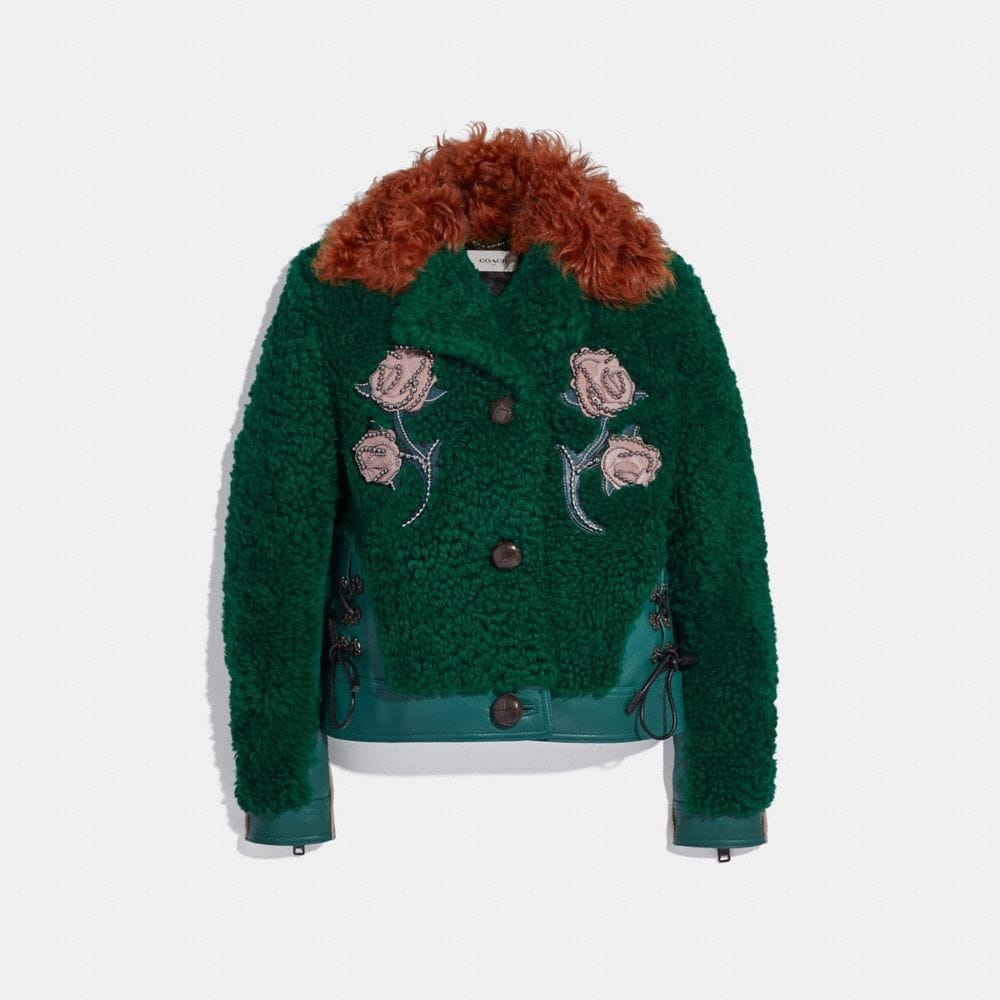 EMBELLISHED SHEARLING JACKET