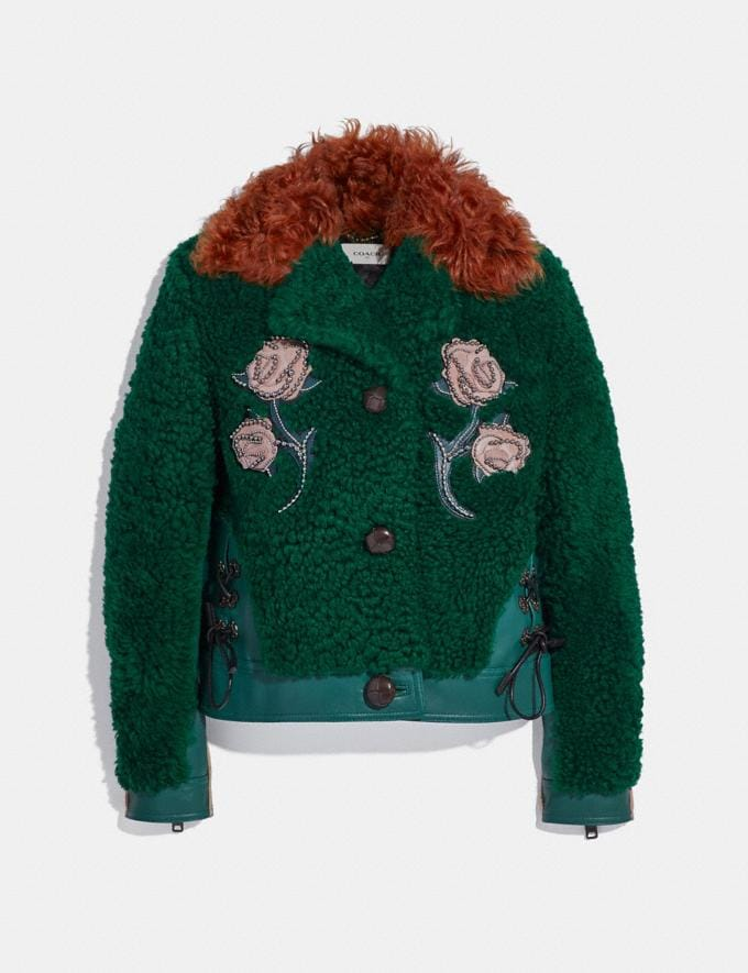 Coach Embellished Shearling Jacket Viridian