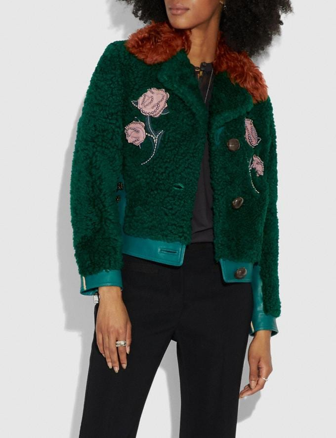 Coach Embellished Shearling Jacket Viridian  Alternate View 1