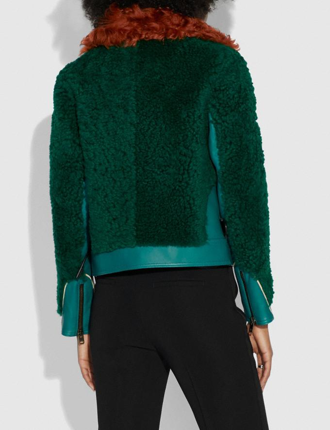 Coach Embellished Shearling Jacket Viridian  Alternate View 2