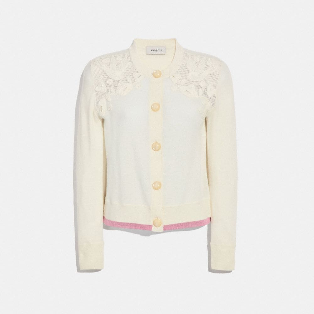 Coach Crochet Crew Neck Cardigan