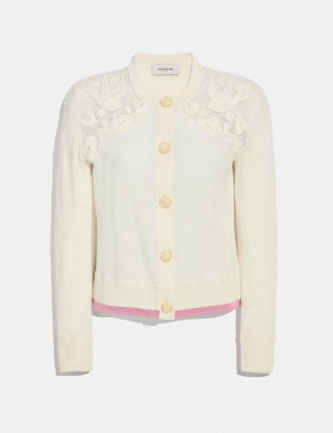 Coach Crochet Crew Neck Cardigan Ivory