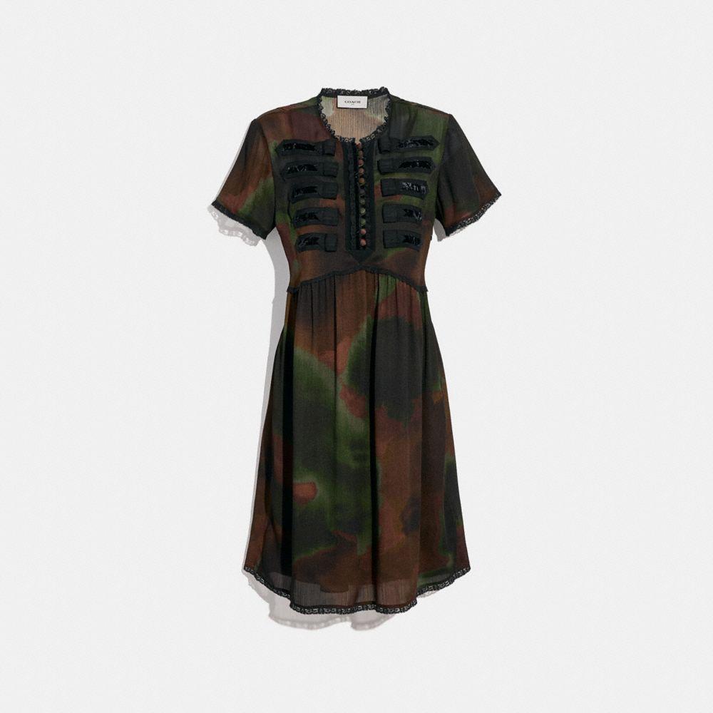 Coach Tie Dye Print Military Dress