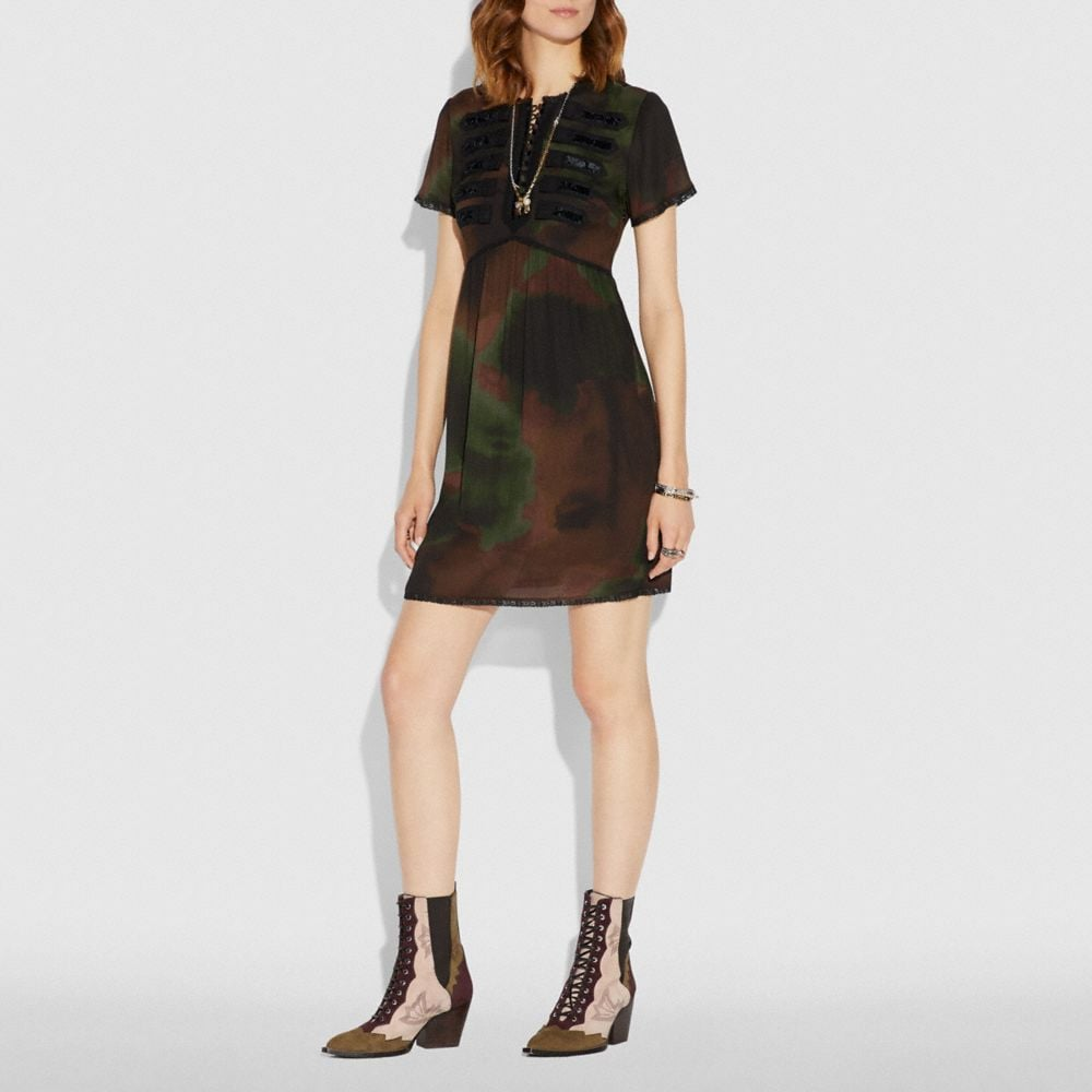 Coach Tie Dye Print Military Dress Alternate View 1