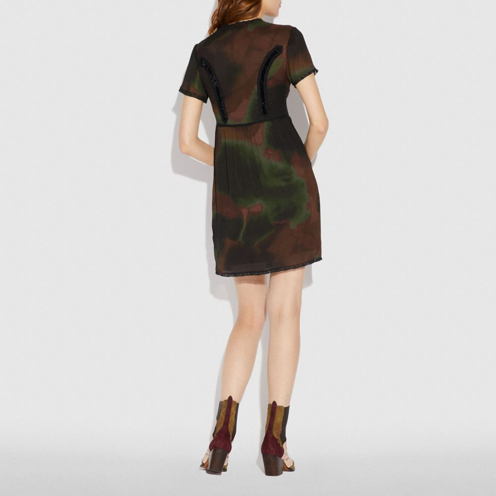 Coach Tie Dye Print Military Dress Alternate View 2