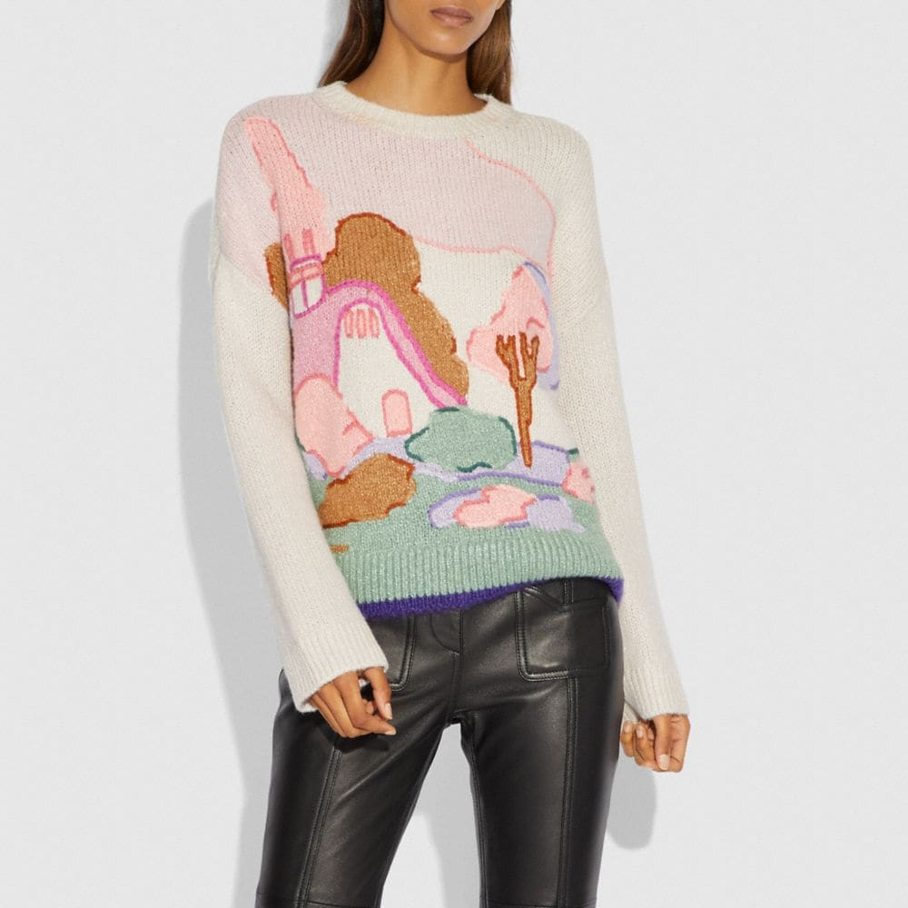 Coach Spooky Cottage Oversized Sweater Alternate View 1