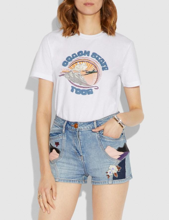 Coach Embellished Coach State Tour T-Shirt White Staff Sale Alternate View 1