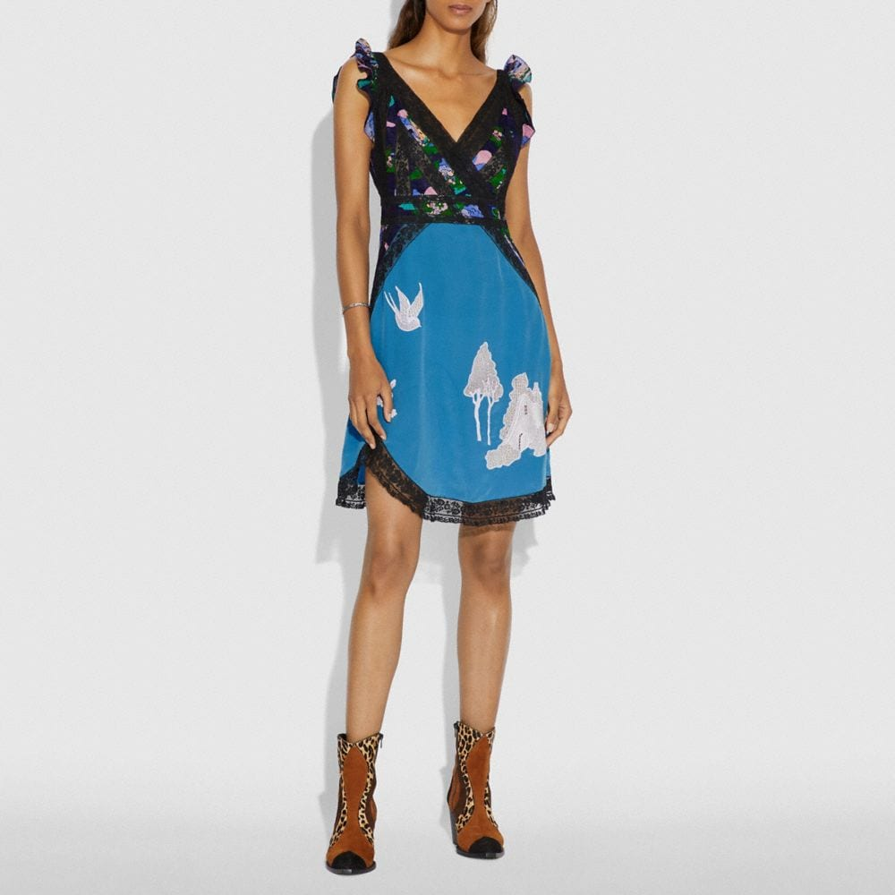 Coach Lace Embroidered Short Dress Alternate View 1