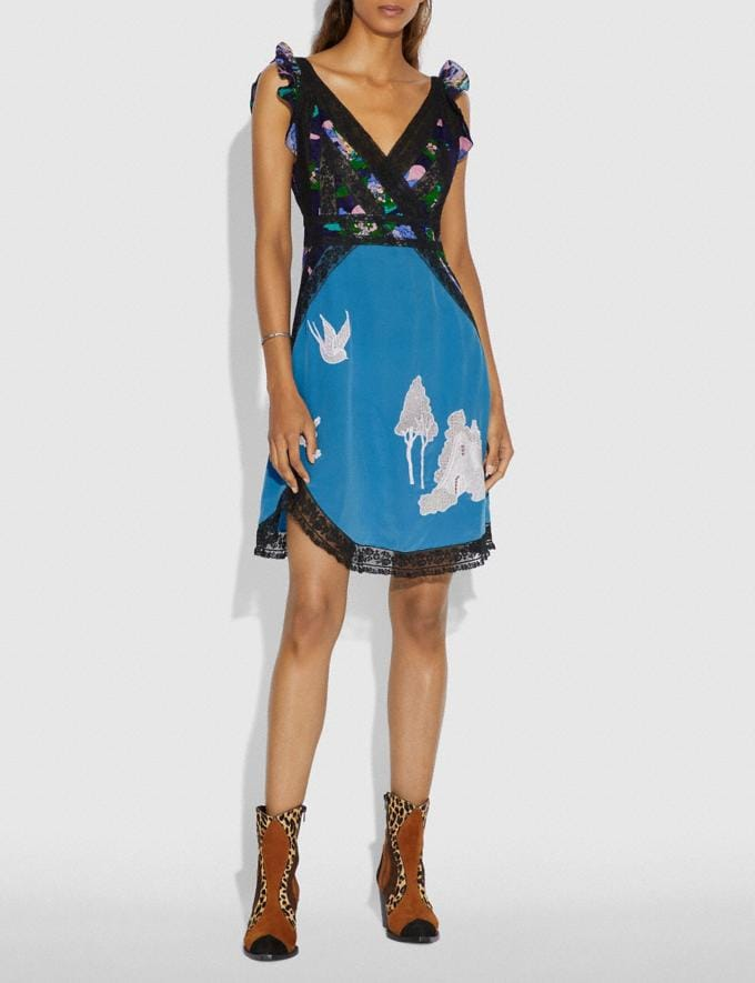 Coach Lace Embroidered Short Dress Blue  Alternate View 1