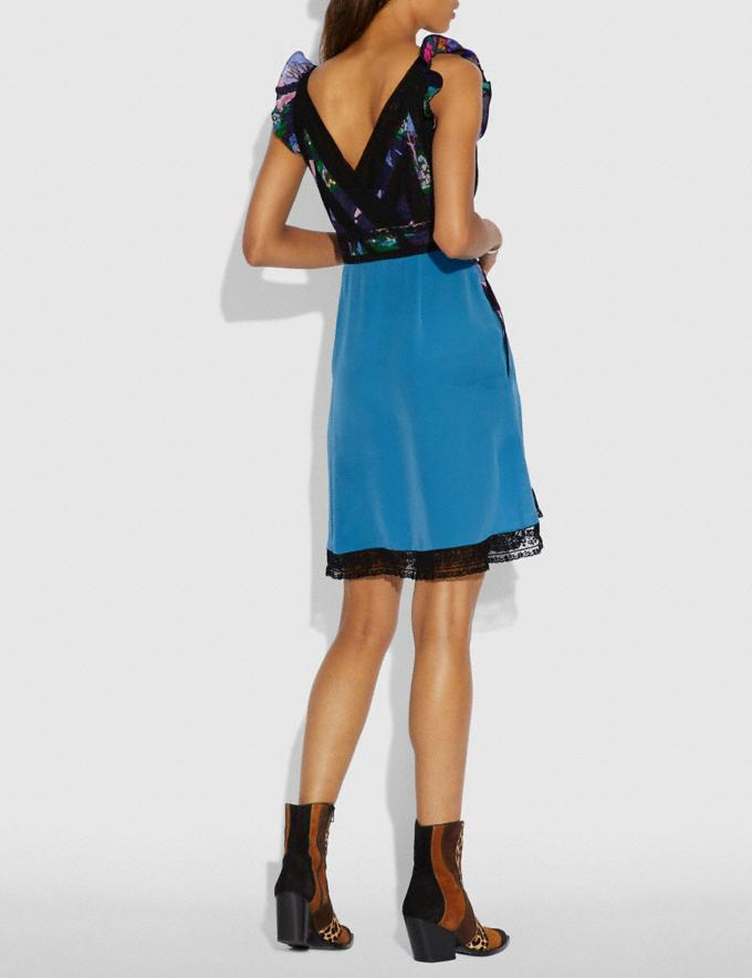 Coach Lace Embroidered Short Dress Blue  Alternate View 2
