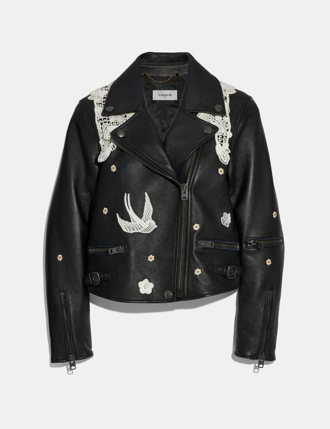 Coach Lace Embroidered Leather Jacket Black