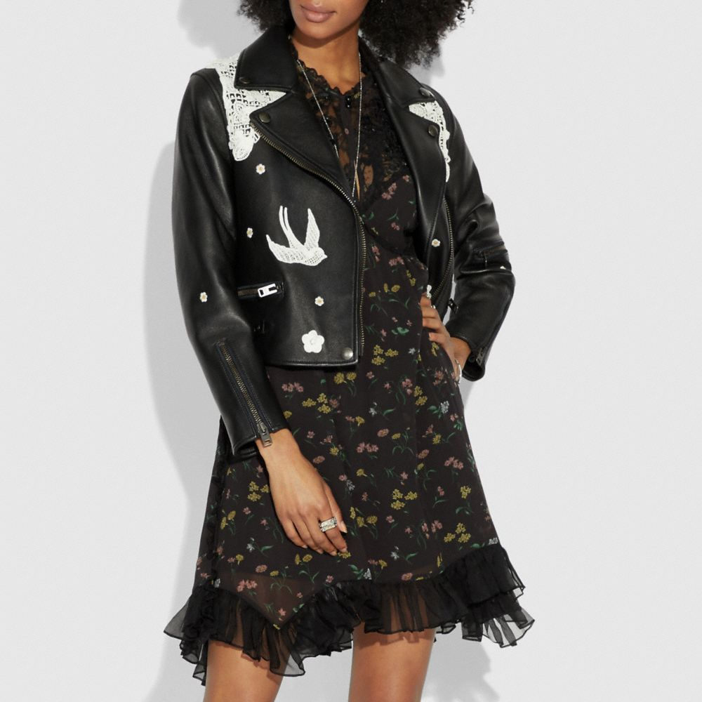 Coach Lace Embroidered Leather Jacket Alternate View 1