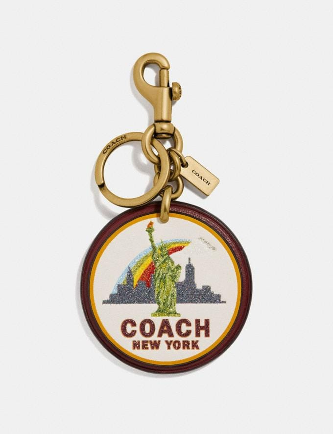 Coach New York Bag Charm Wine/Gold Women Accessories Bag Accessories & Keyholders