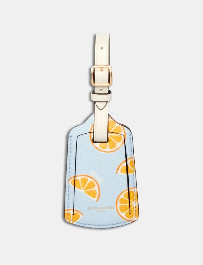 Coach Luggage Tag With Orange Print Im/Orange/Blue