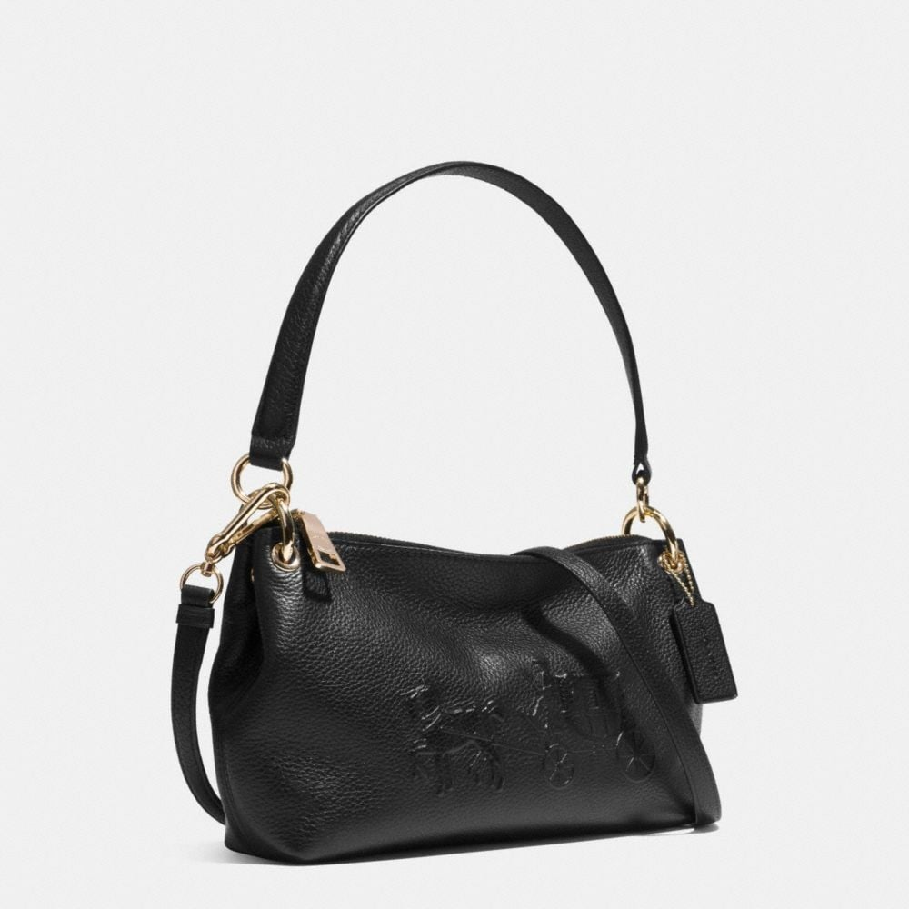 EMBOSSED HORSE AND CARRIAGE CHARLEY CROSSBODY IN PEBBLE LEATHER - Alternate View A2
