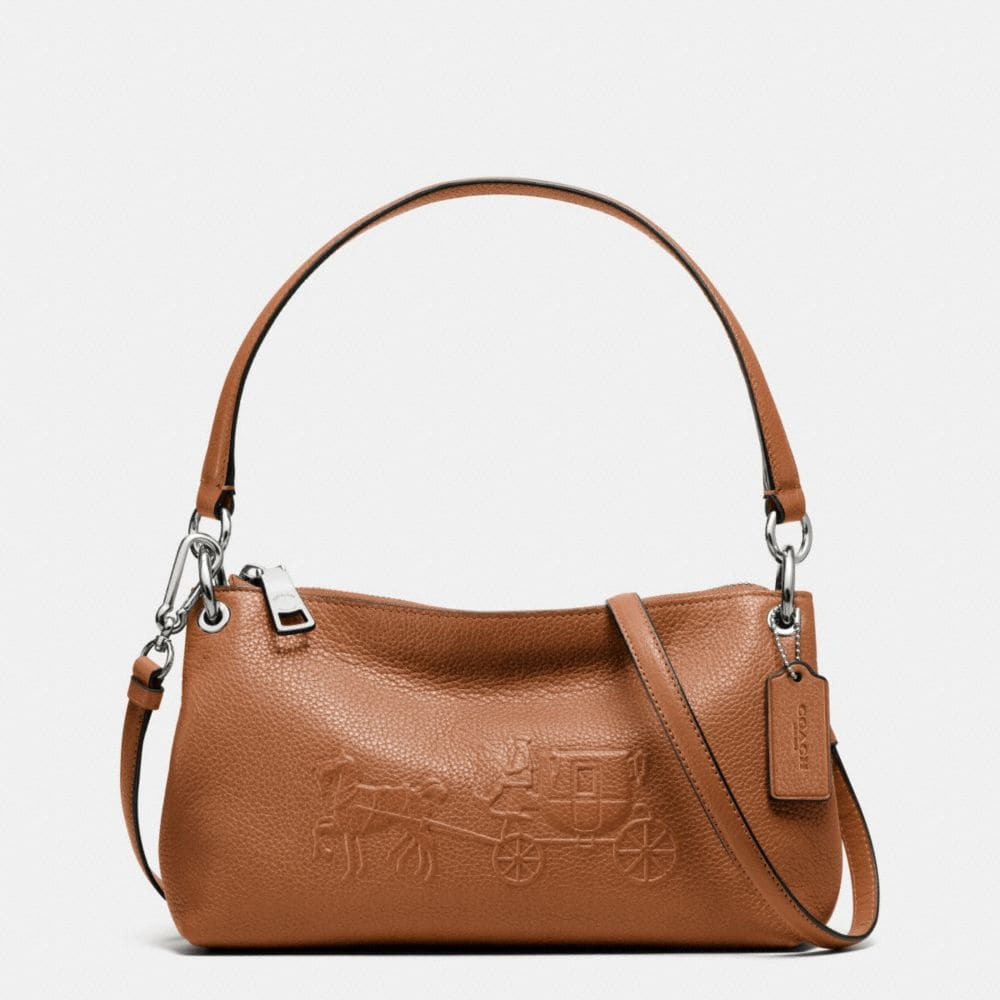 Coach Embossed Horse And Carriage Charley Crossbody In Pebble Leather