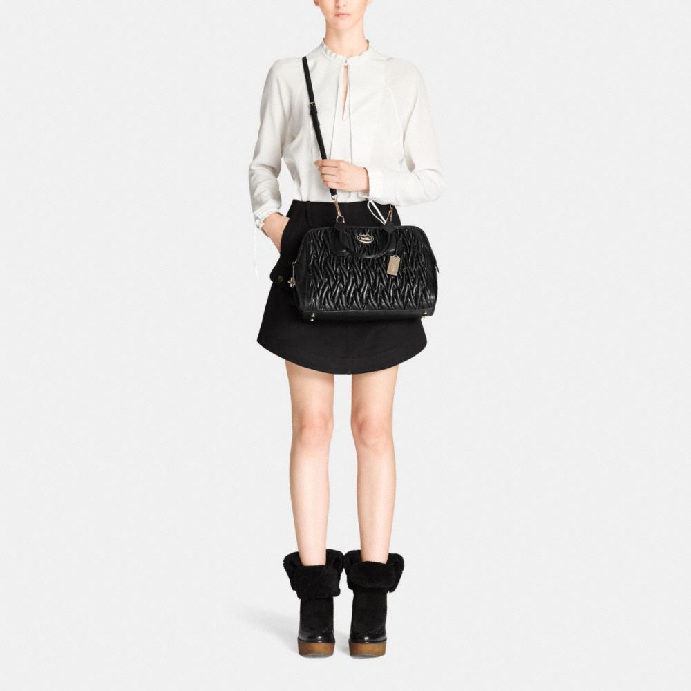 Satchel in Gathered Leather - Alternate View M