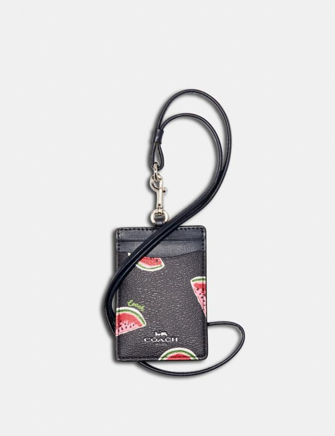 Coach Id Lanyard With Watermelon Print Sv/Navy Red Multi