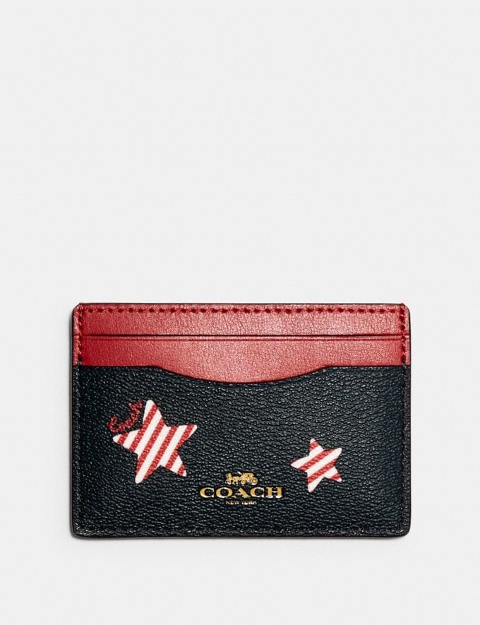 Coach Card Case With Americana Star Print Im/Navy/ Red Multi