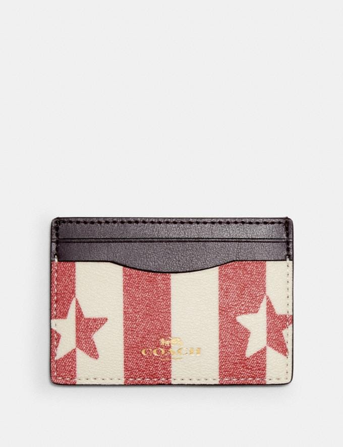 Coach Card Case With Stripe Star Print Im/Chalk/ Red Multi