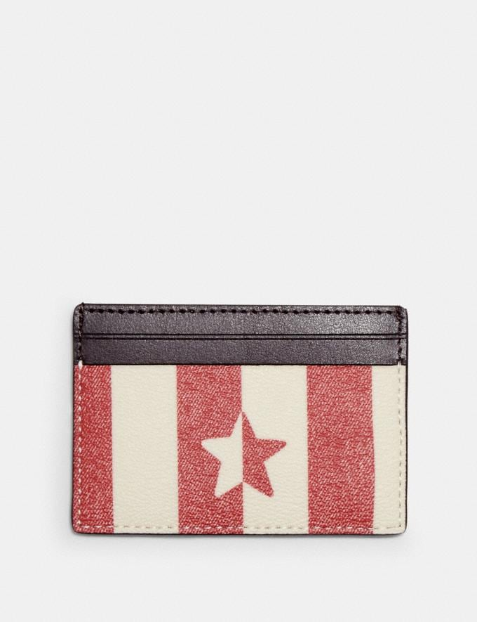 Coach Card Case With Stripe Star Print Im/Chalk/ Red Multi  Alternate View 1