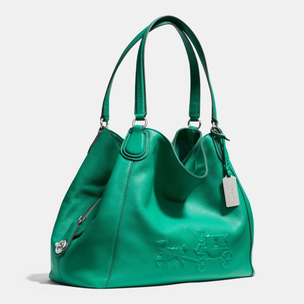Embossed Horse and Carriage Edie Shoulder Bag in Pebbled Leather - Autres affichages A2
