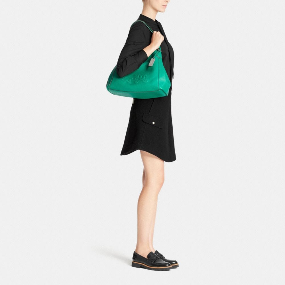 Embossed Horse and Carriage Edie Shoulder Bag in Pebbled Leather - Autres affichages M