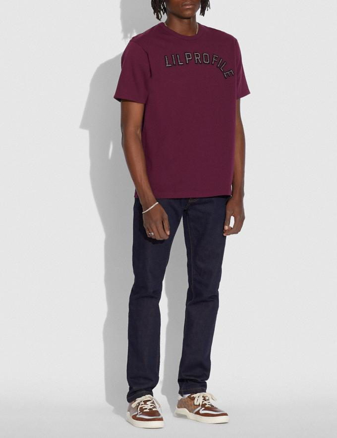 Coach Coach X Champion Men'S Embellished T-Shirt Burgundy.  Alternate View 1