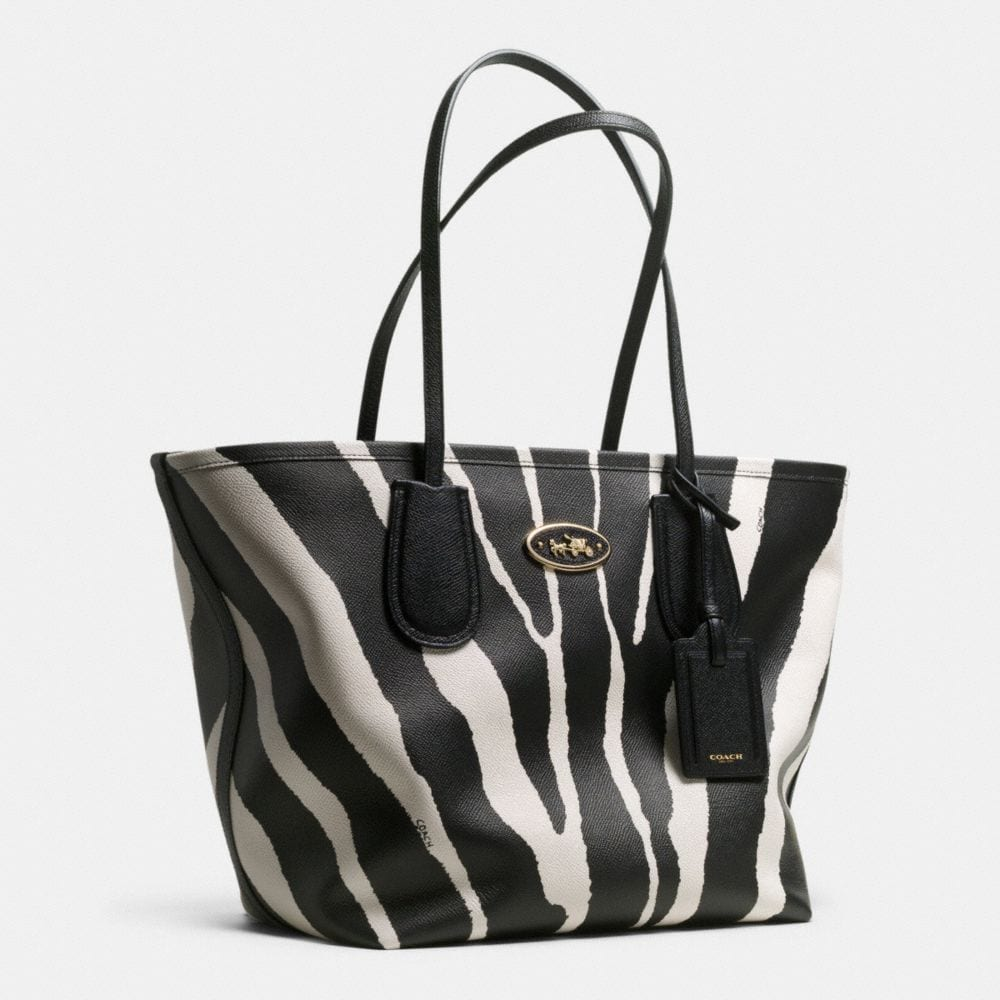 Coach Taxi Zip Top Tote in Zebra Print Leather - Autres affichages A2