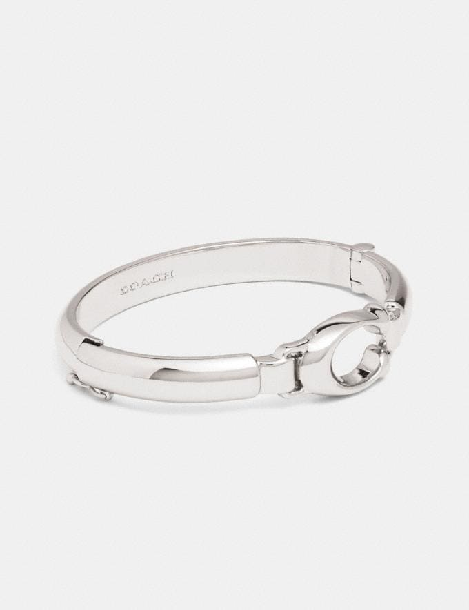 Coach Sculpted Signature Plaque Bangle Silver CYBER MONDAY SALE Women's Sale 30 Percent Off