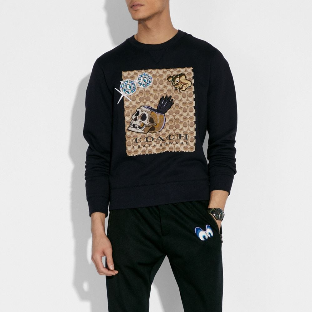 Coach Disney X Coach Signature Sweatshirt With Patches Alternate View 1